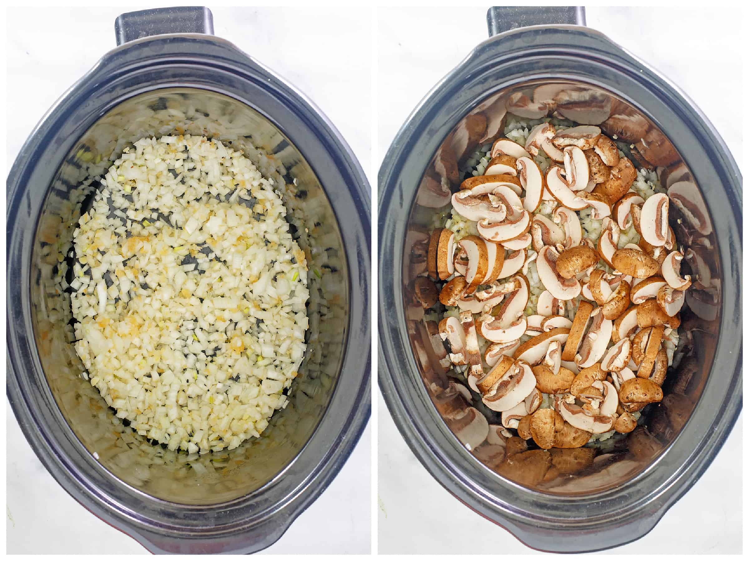 onions and mushrooms in slow cooker