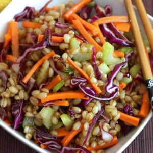 Asian wheat berry salad recipe healthy vegetables teriyaki chinese