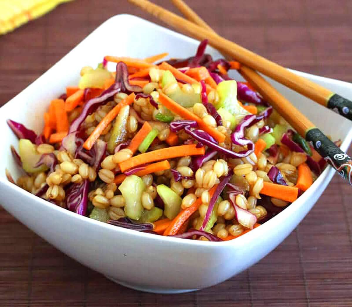 asian wheat berry salad recipe healthy vegetarian vegan