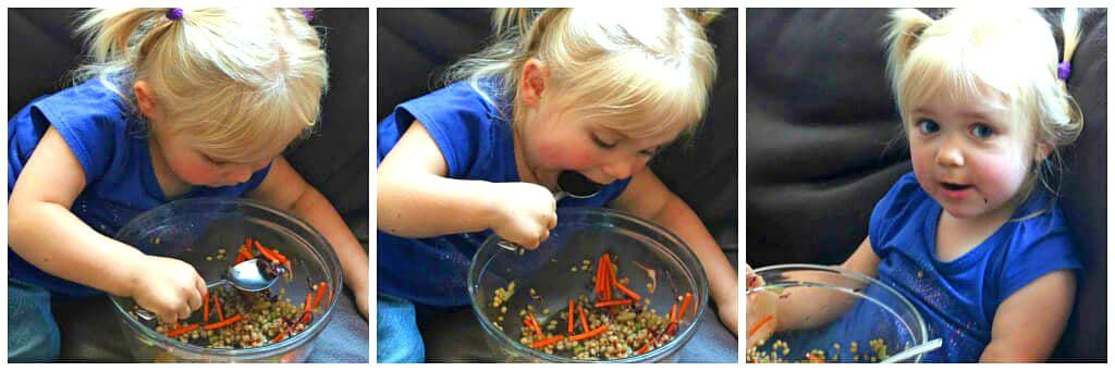 girl eating wheat berry salad