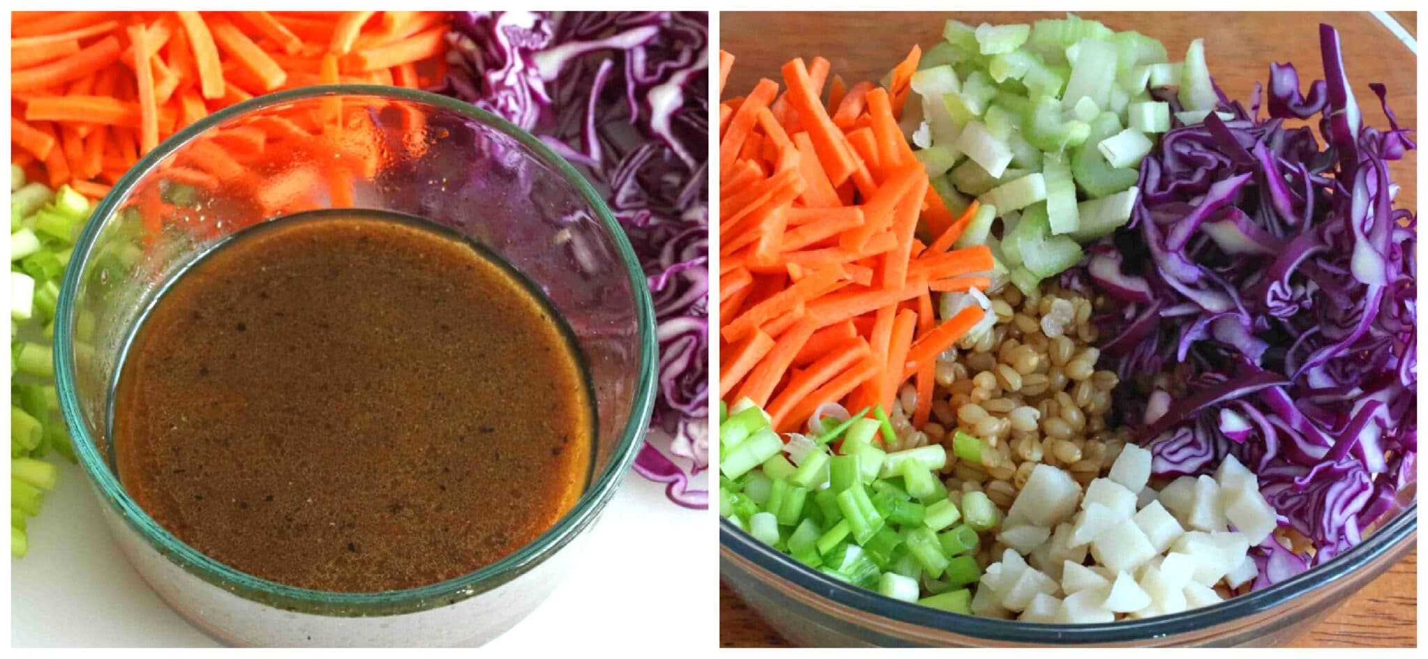 dressing with bowl of grains and vegetables