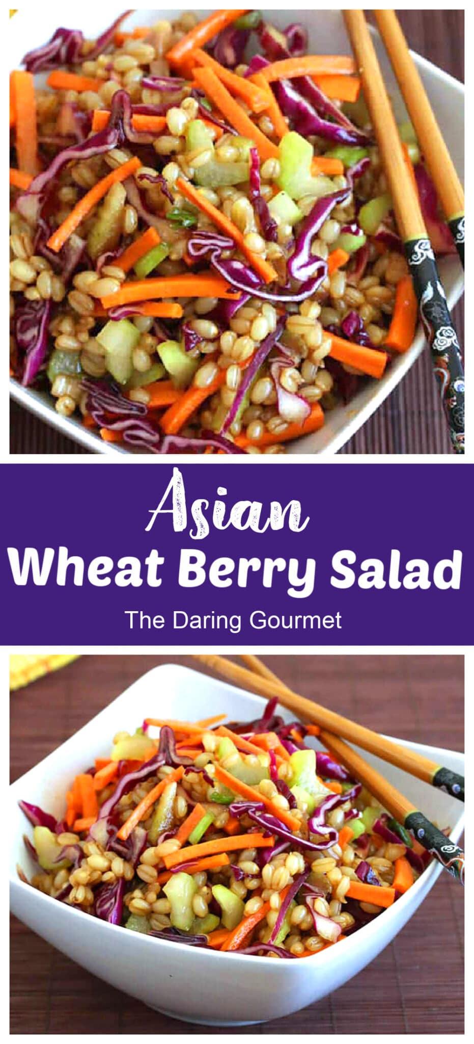 wheat berry salad recipe Asian Chinese healthy vegetarian vegan hoisin sauce vegetables whole grain