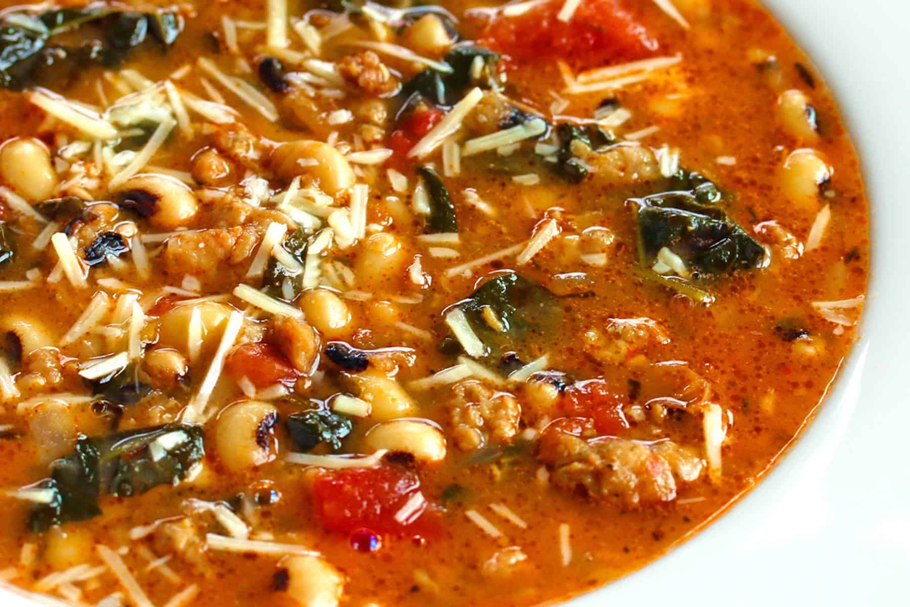 black eyed peas soup sausage kale recipe southern healthy gluten free