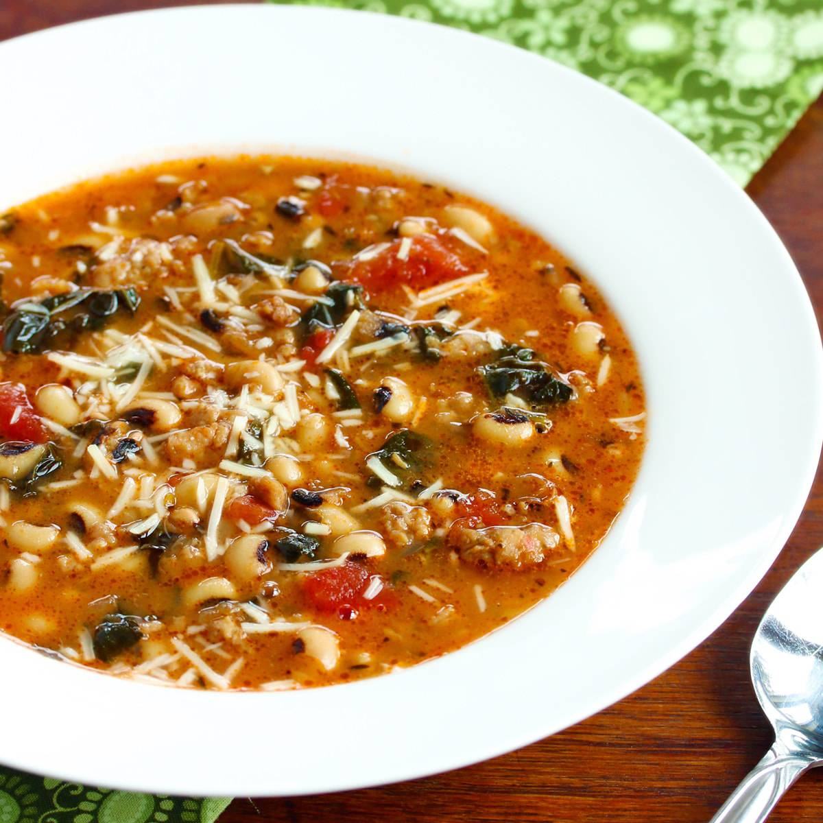 black eyed pea sausage kale soup recipe healthy southern