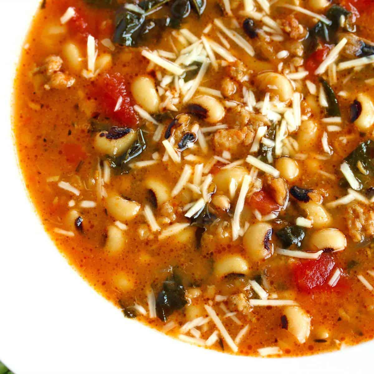 black eyed peas soup recipe kale sausage parmesan cheese gluten free