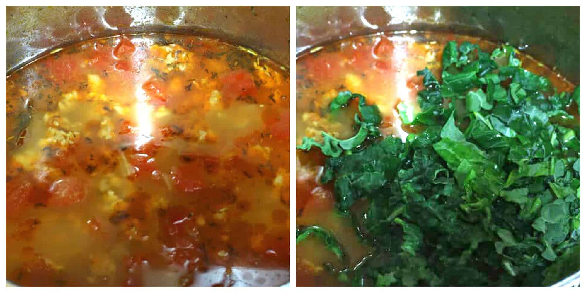 simmer broth and add kale