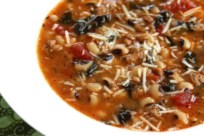 sausage kale black eyed pea soup recipe southern italian