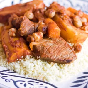 Kusksu (Libyan Couscous with Spicy Beef and Vegetables)