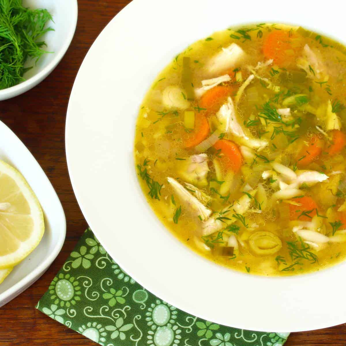 chicken orzo soup recipe lemon dill herbs slow cooker