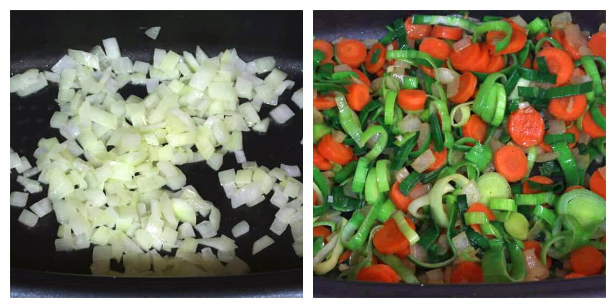 cook onions and veggies
