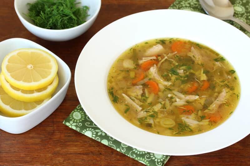 slow cooker crock pot lemon chicken orzo soup dill