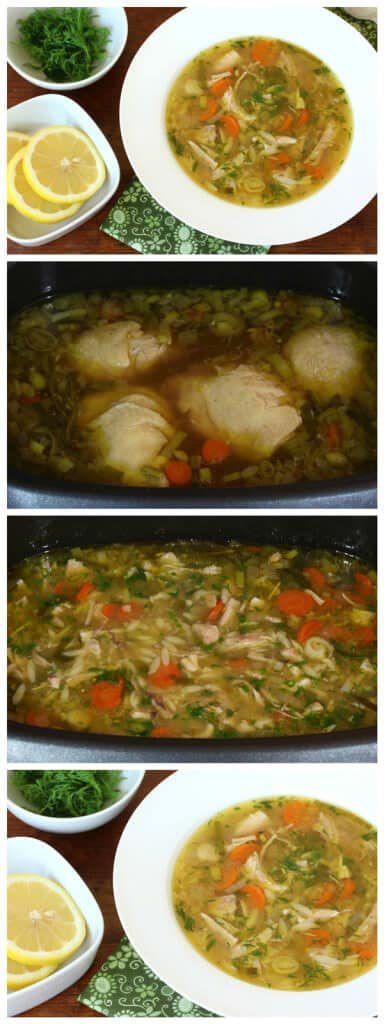 slow cooker crock pot lemon chicken orzo soup dill