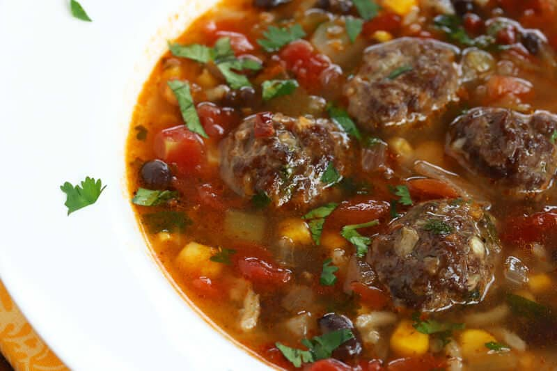 Mexican meatball soup stew recipe beef corn chipotles cilantro chorizo ...