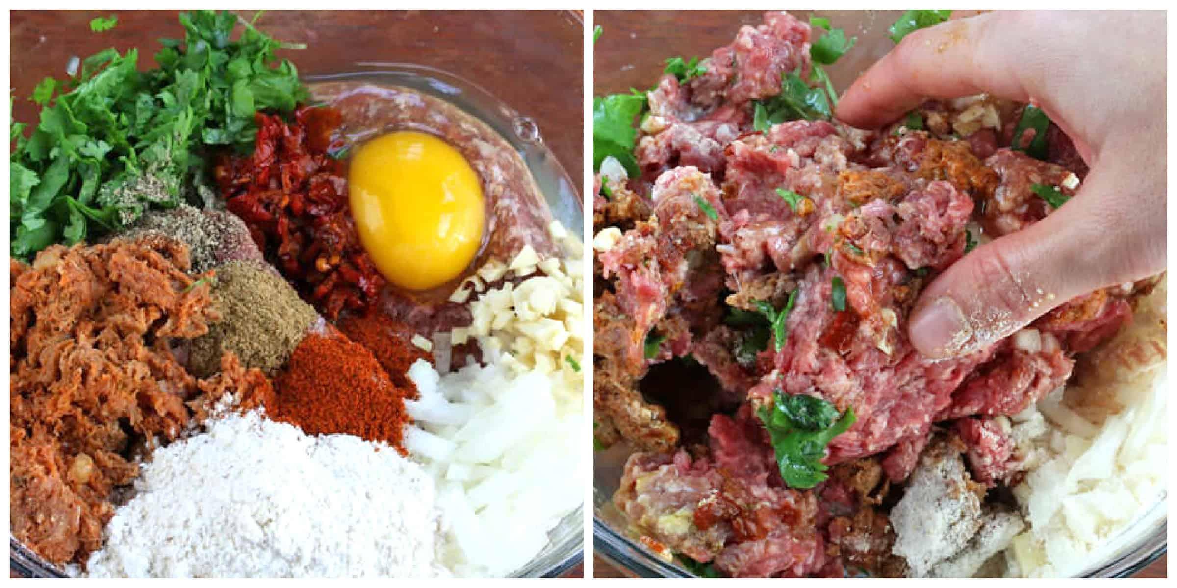 combining meat mixture