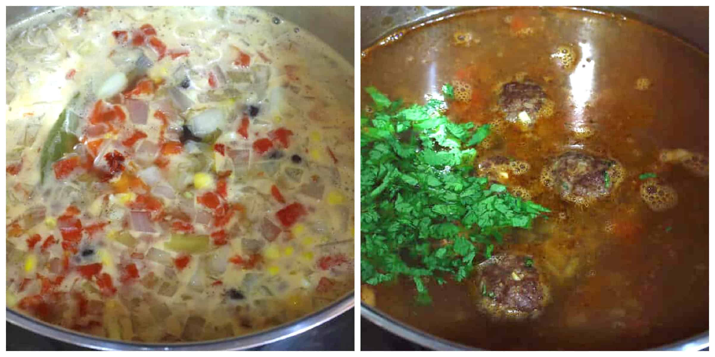 add veggies and meatballs to pot