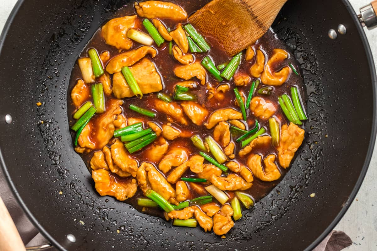 mongolian chicken recipe best takeout fast food restaurant copycat green onions fast quick easy