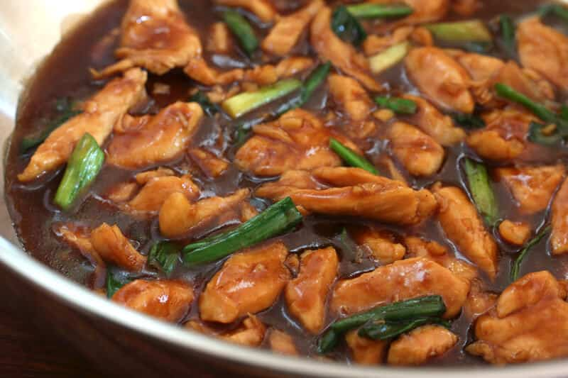 mongolian chicken recipe easy fast takeout green onions hoisin sauce