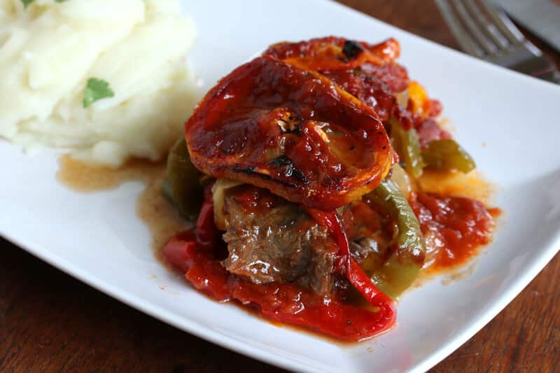 Spanish steaks the daring gourmet spanish steaks recipe bell peppers lemon garlic sauce beef easy simple fast forumfinder Images