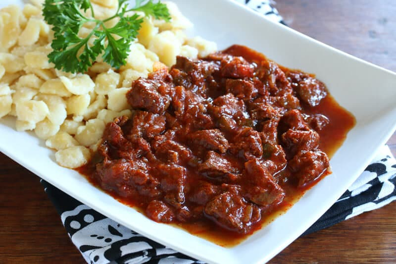 traditional authentic Hungarian Beef and Onion Stew Marhapörkölt pörkölt recipe