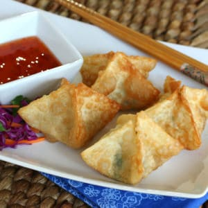 Goat Cheese, Spinach and Bacon Wontons