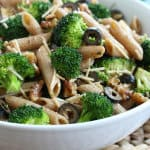 Broccoli and Pasta Salad with Olives, Parmesan & Toasted Walnuts