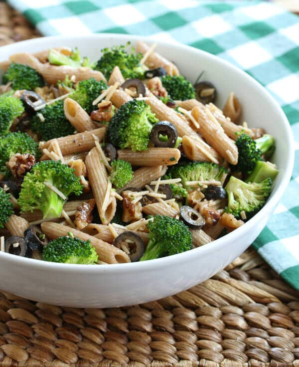broccoli pasta salad olives walnuts parmesan whole wheat vegetarian gluten free recipe
