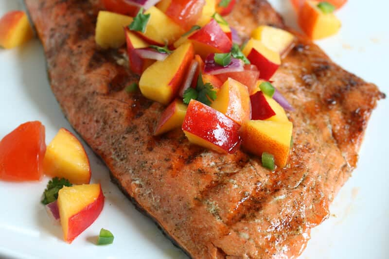 grilled salmon peach salsa recipe jalapeno nectarines lime juice paleo ...