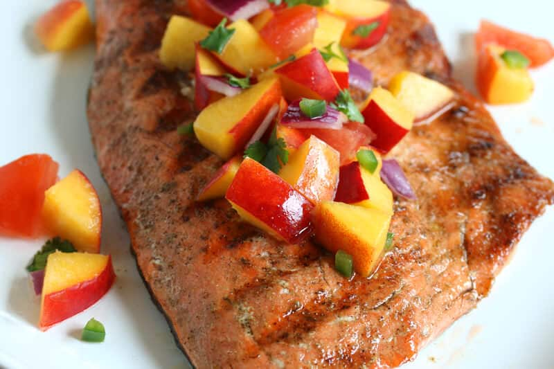 grilled salmon peach salsa recipe jalapeno nectarines lime juice paleo gluten