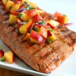 Grilled Salmon with Fresh Peach Jalapeno Salsa