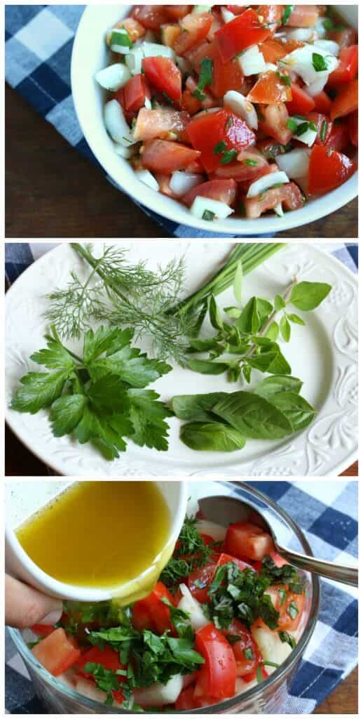 german tomato salad recipe tomatensalat rezept basil parsley herbs vinaigrette
