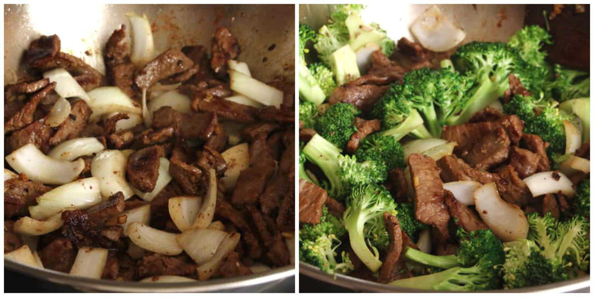 frying beef onions broccoli