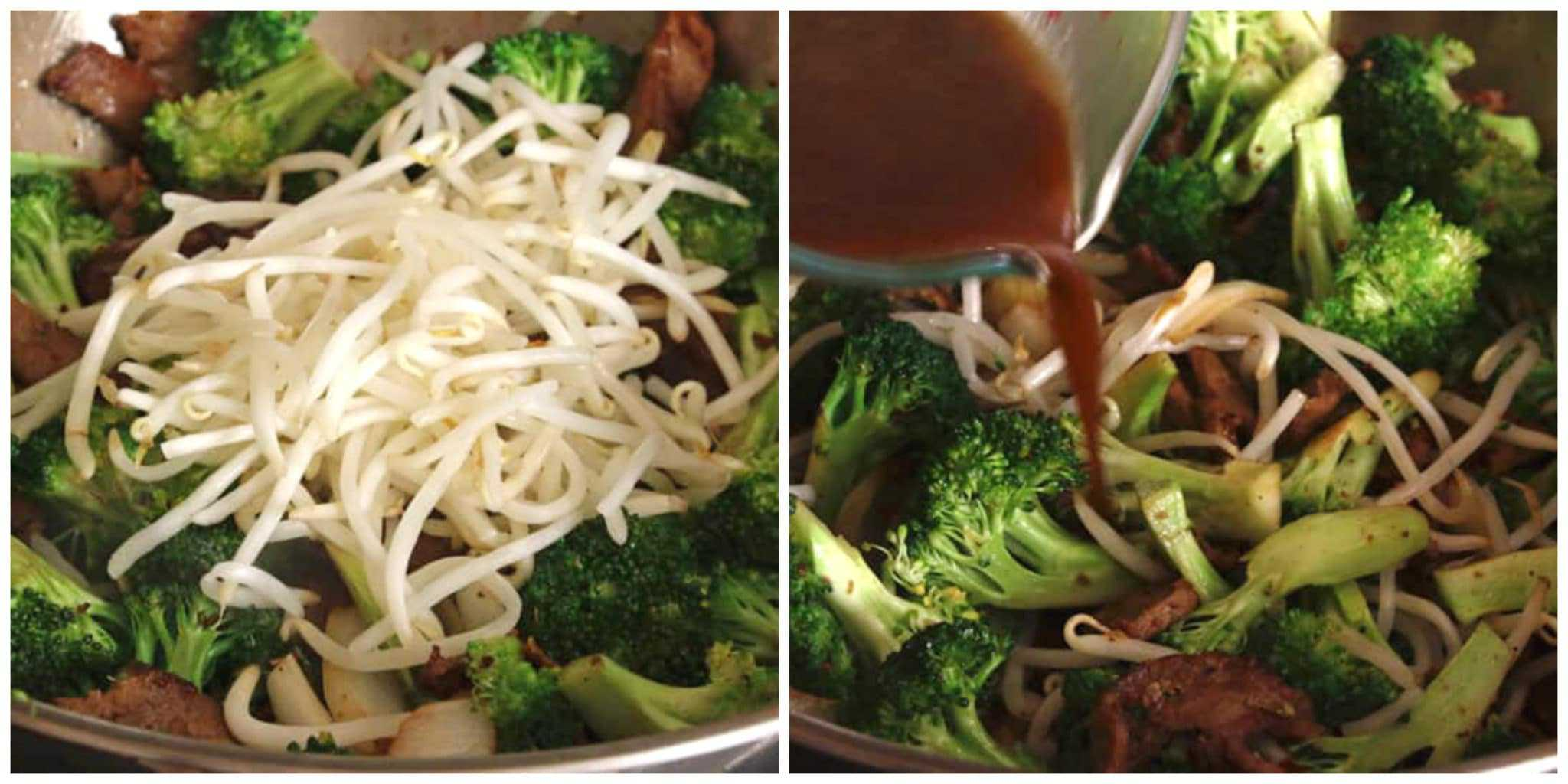 beef bean sprouts broccoli sauce stir fry