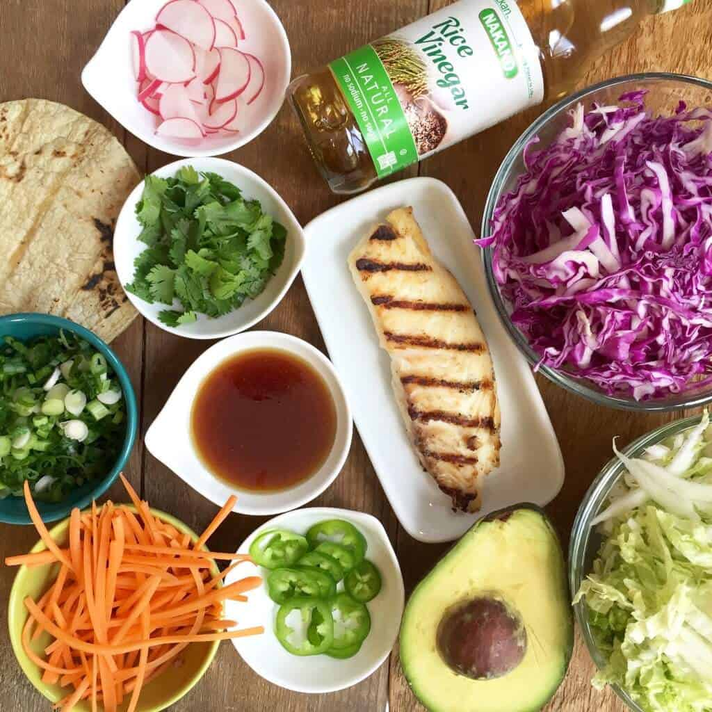 Asian style grilled fish tacos the daring gourmet for Fish taco ingredients