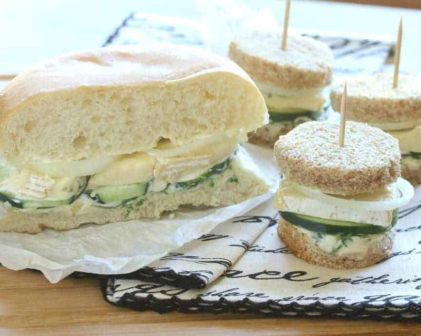 french connection sandwich hors d'oeuvres brie cucumber garlic butter ...