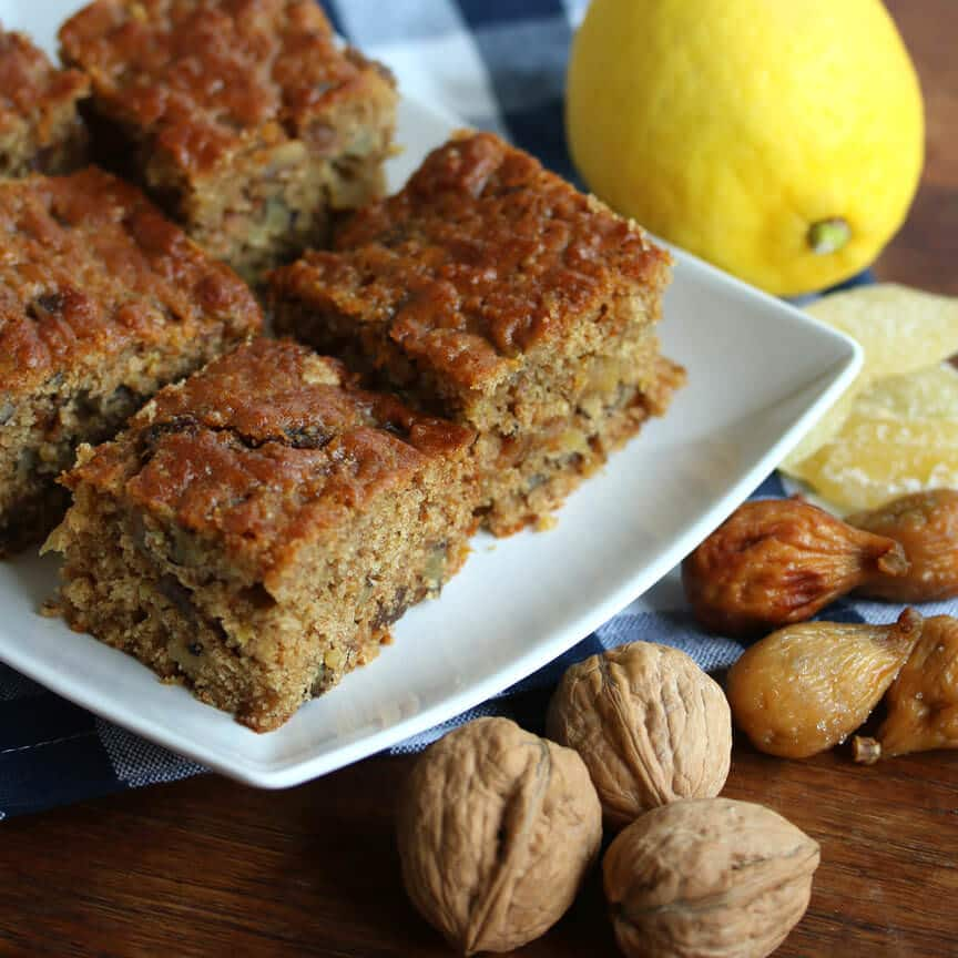 whole grain cake millet recipe nuts walnuts figs candied ginger spelt lemon
