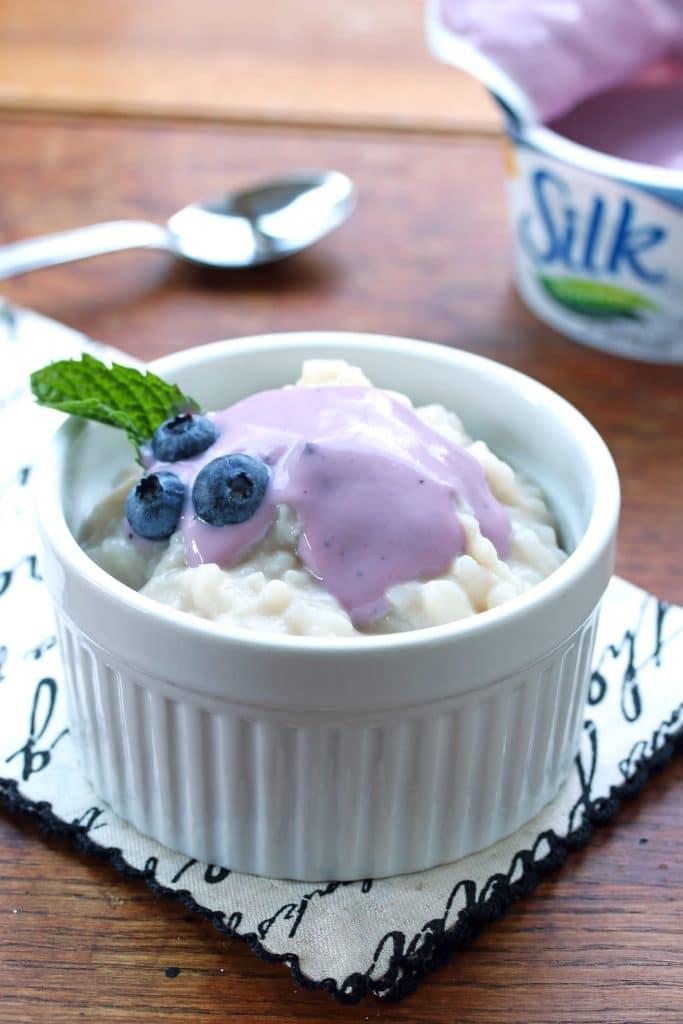 creamy rice pudding dairy free recipe yogurt gluten free vegan