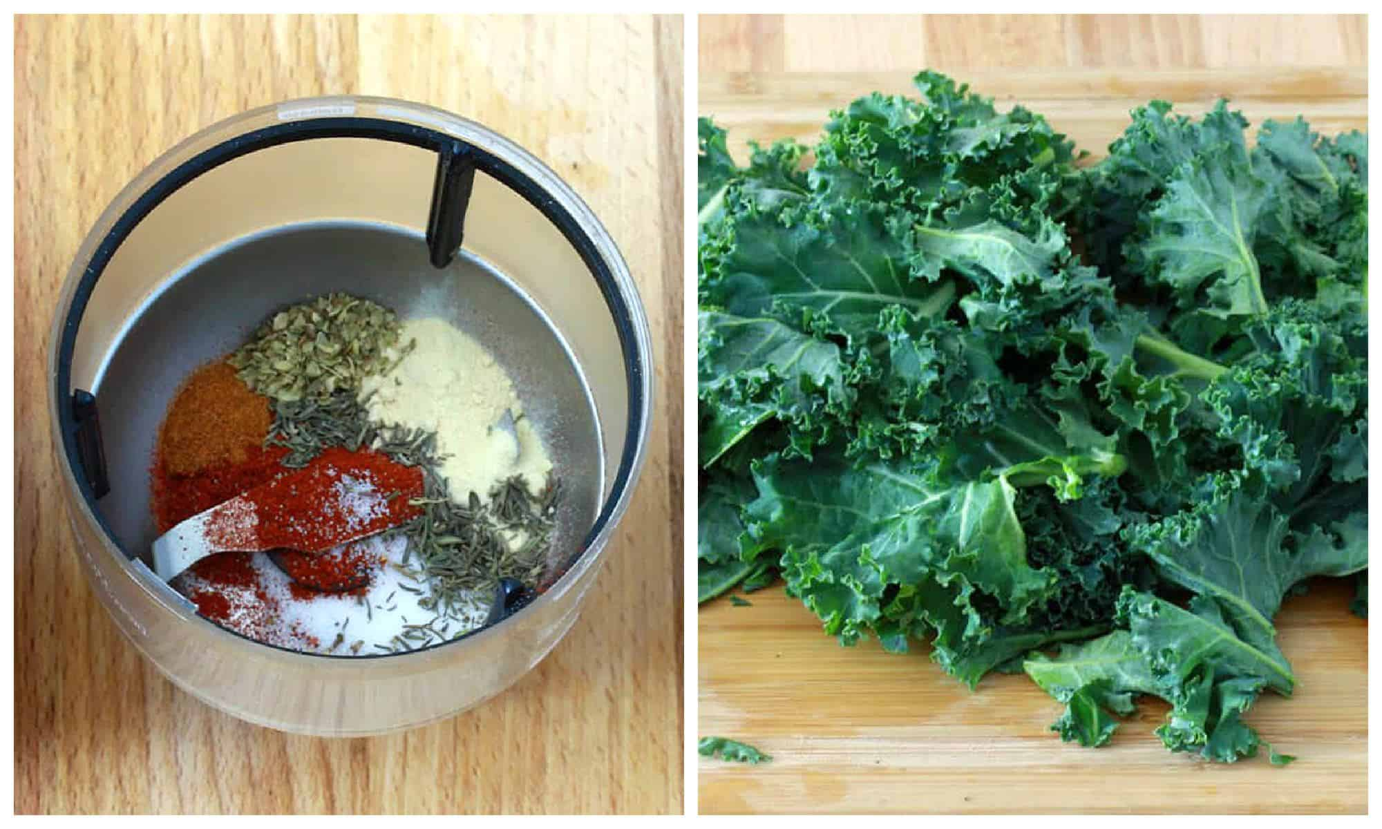 making Cajun seasoning and chopping kale