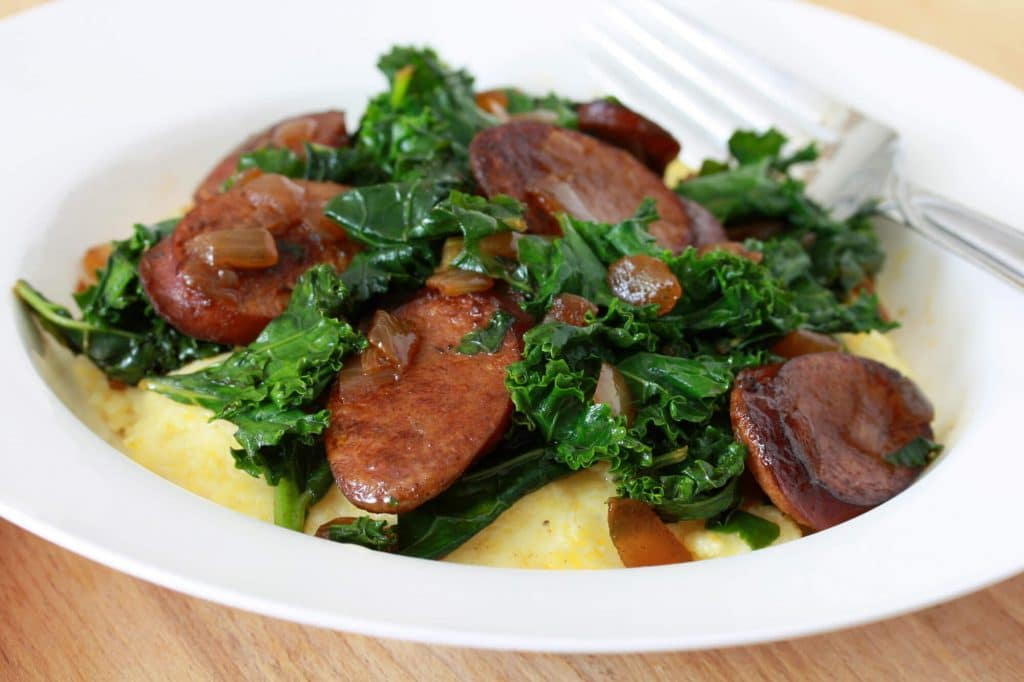 Sauteed Andouille And Greens With Grits Recipes — Dishmaps