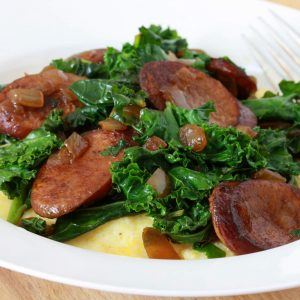 Andouille Sausage & Greens with Cheese Grits