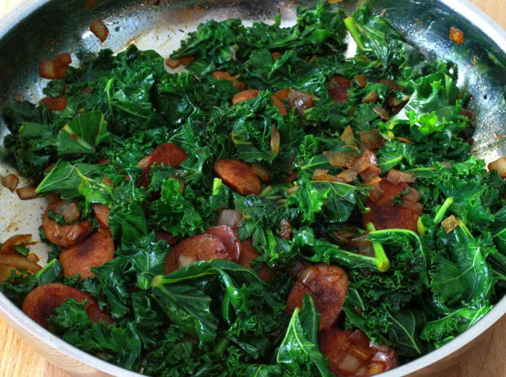 andouille sausage greens cheese grits kale swiss chard recipe
