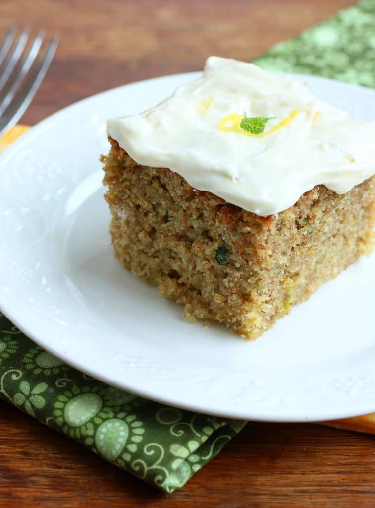 lemon lime zucchini cake recipe cream cheese frosting spelt whole wheat whole grain