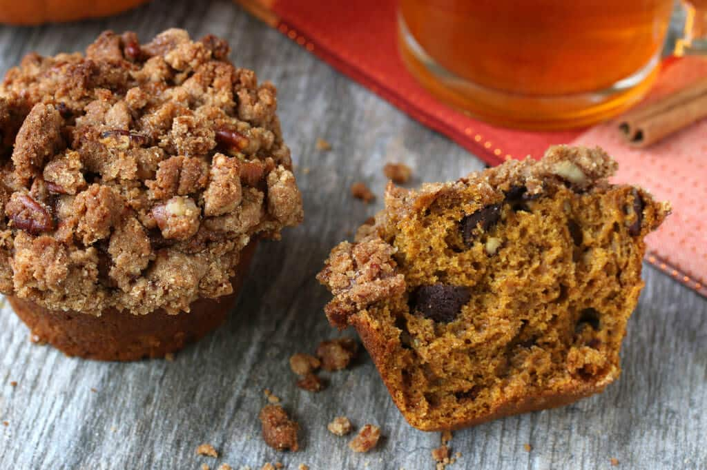 pumpkin streusel muffins recipe whole grain honey chocolate pecan