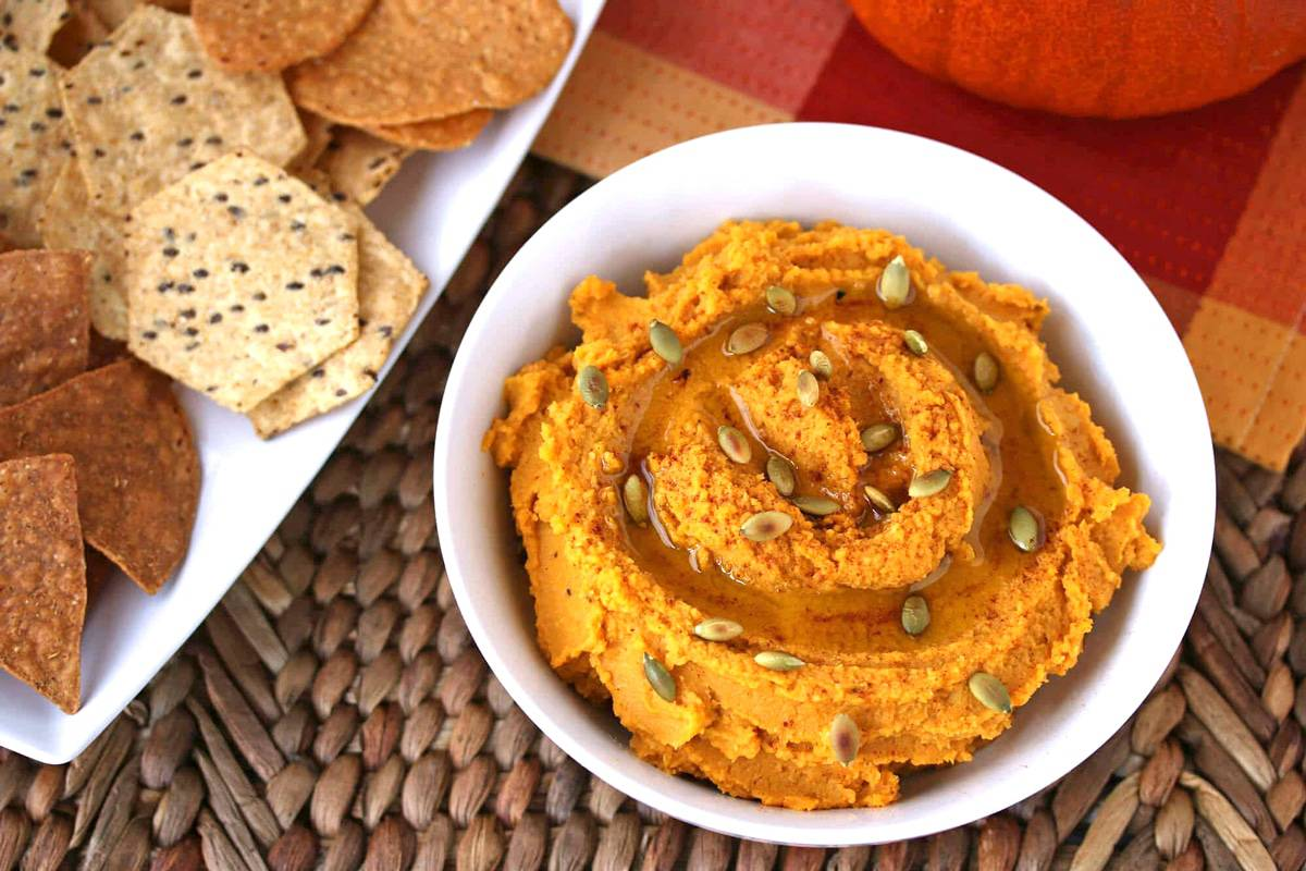 pumpkin hummus recipe roasted dip tahini garbanzo beans chickpeas