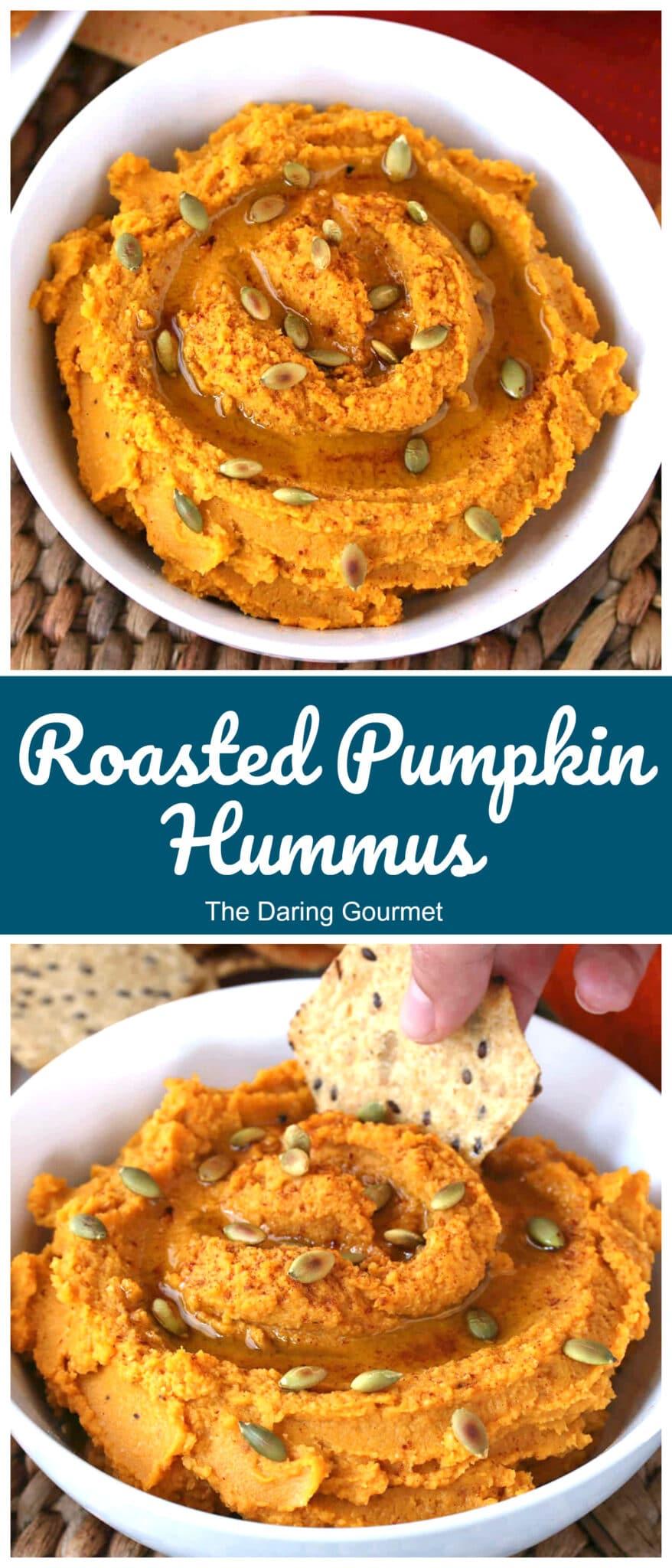 pumpkin hummus recipe roasted dip tahini garbanzo beans chickpeas vegan vegetarian healthy