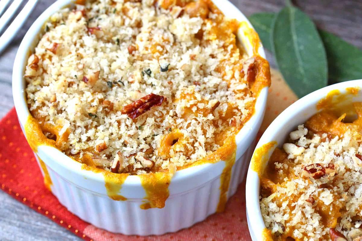 pumpkin mac and cheese recipe cheddar gorgonzola blue cheese sage pecans whole grain