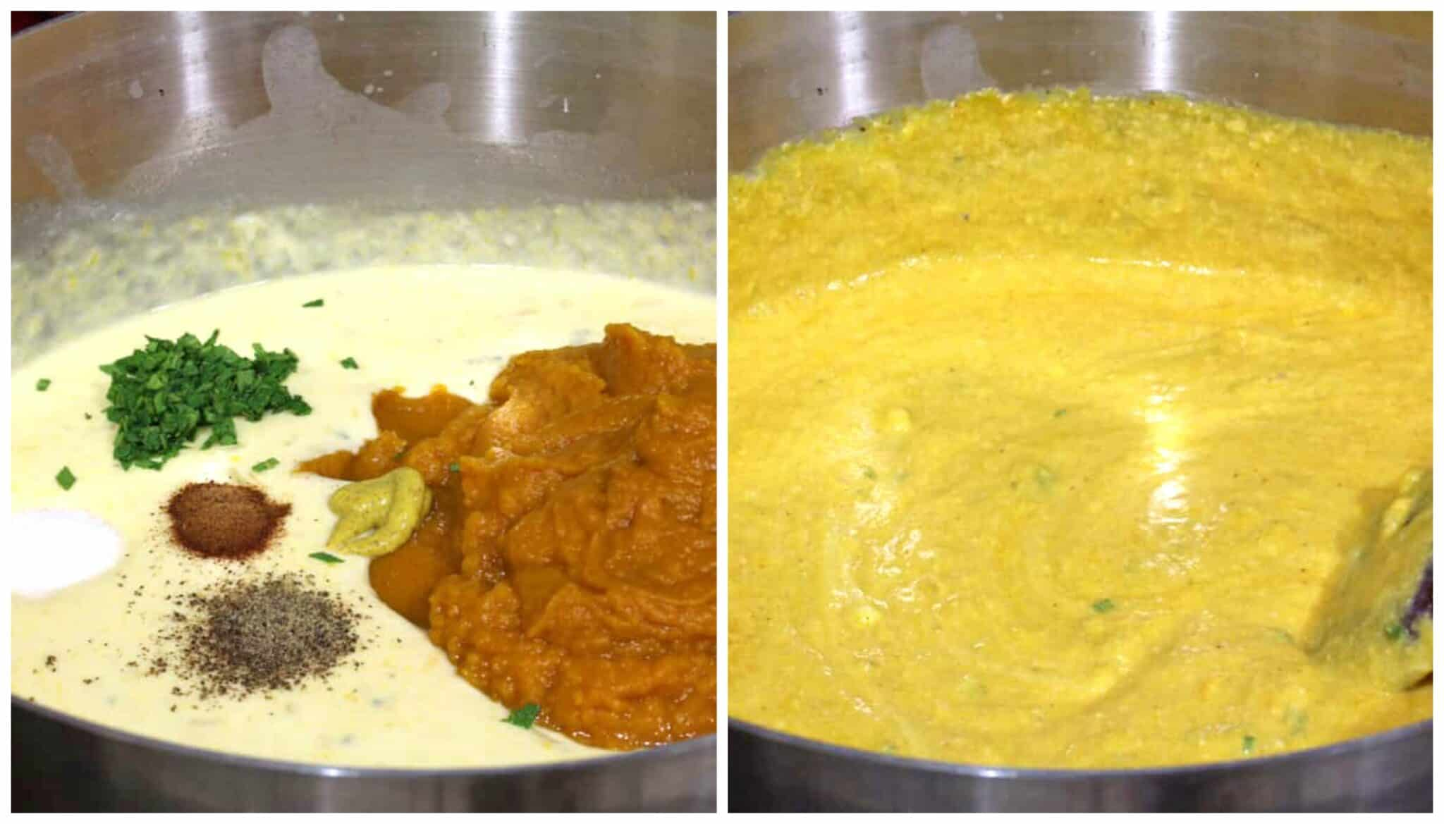 add herbs spices and pumpkin