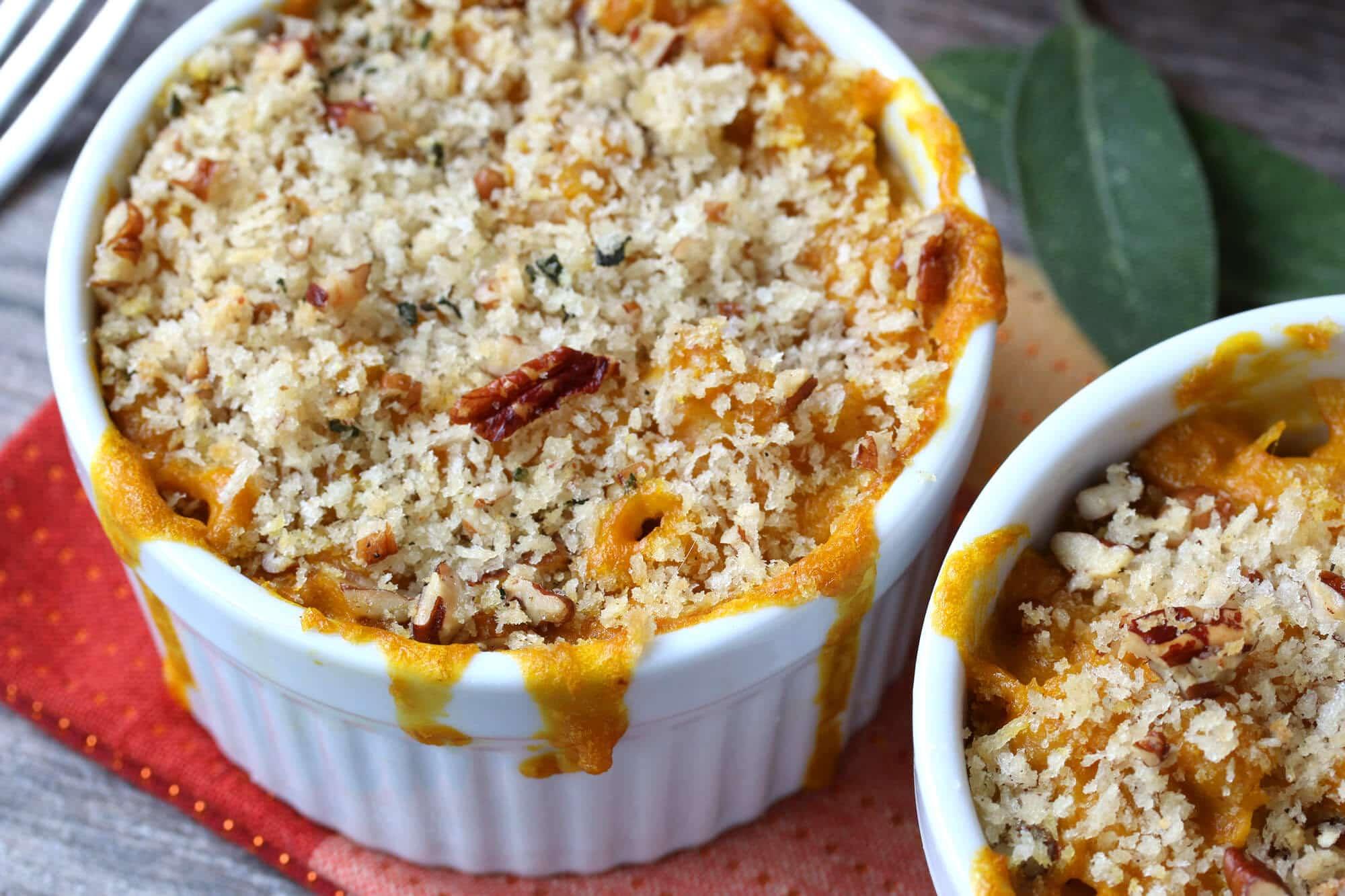 pumpkin mac and cheese pecans gorgonzola sage breadcrumb topping recipe