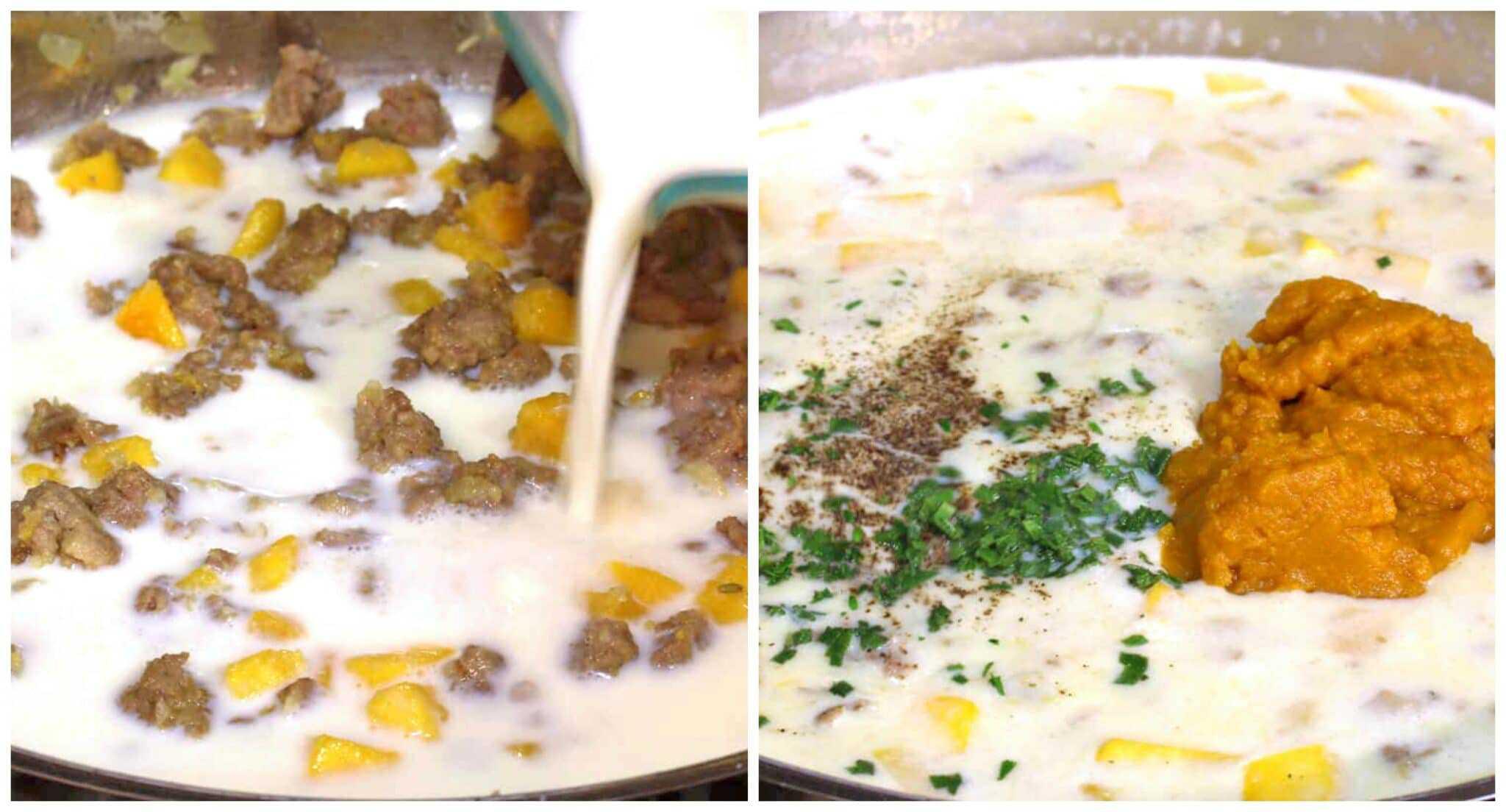adding milk seasonings puree