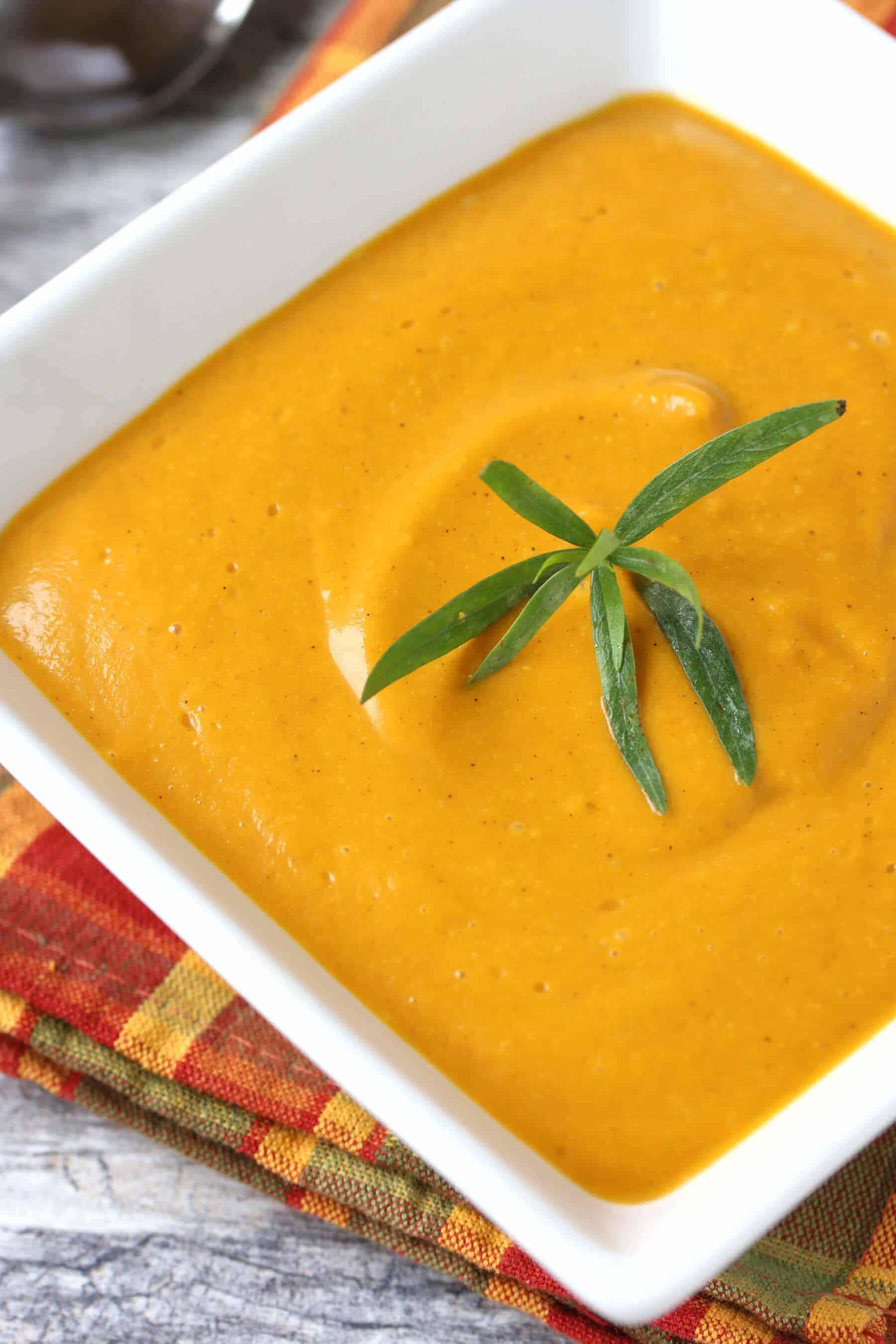curried roasted sweet potato soup recipe creamy tarragon shallots garlic