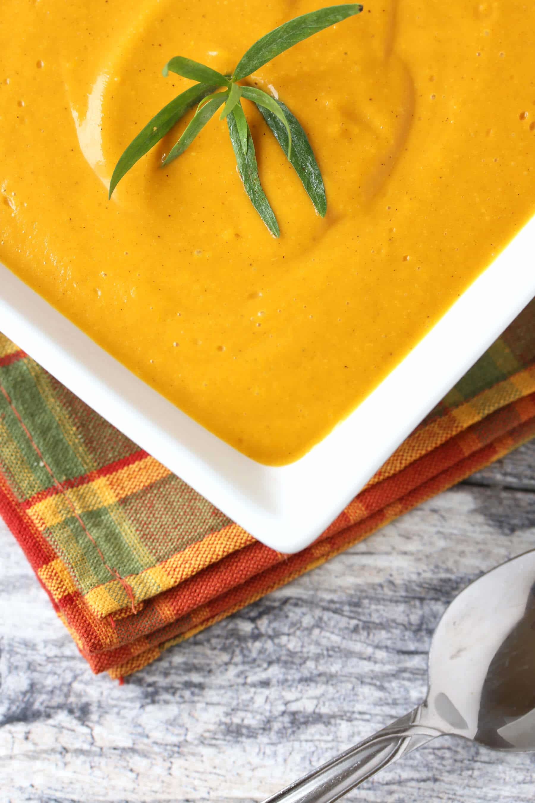 curried roasted sweet potato soup recipe creamy tarragon shallots garlic